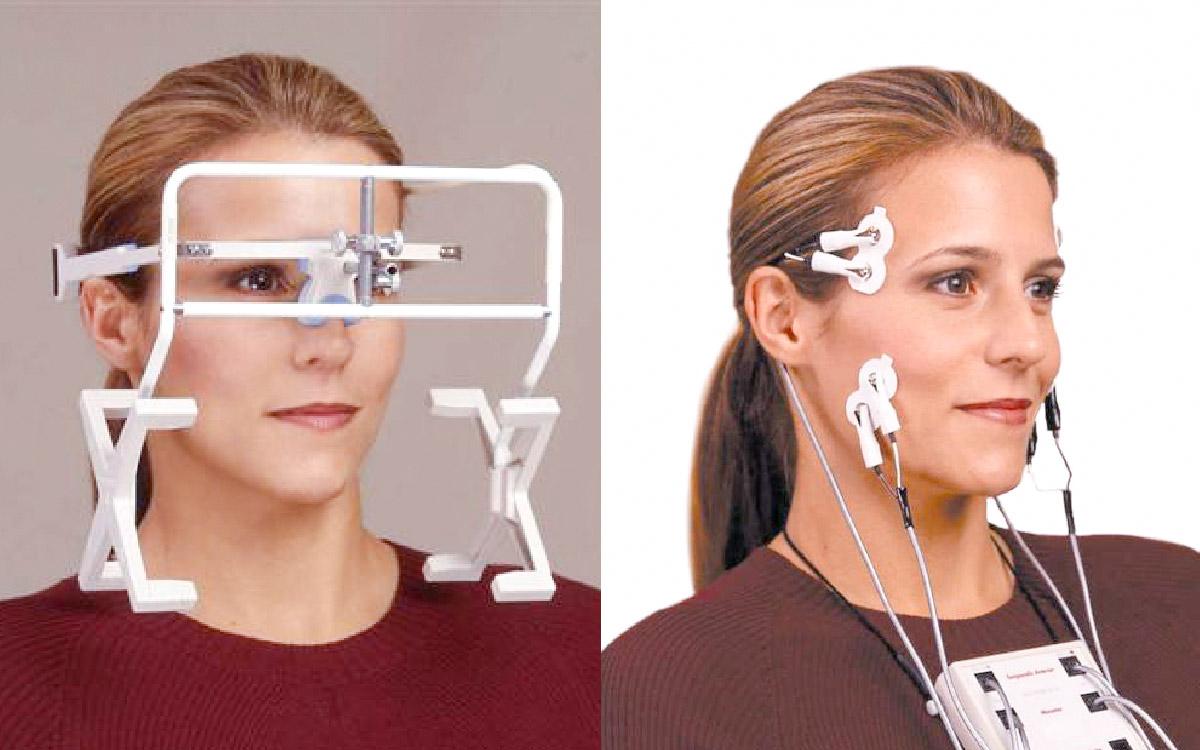 画像:あごの動きの検査機器・お口周囲の筋電図計